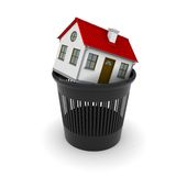 White house with red roof in a black trash. 3D rendering Stock Photos