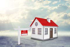 White house with red roof and chimney. Near there Royalty Free Stock Photos