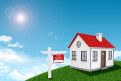 White house for rent with red roof and chimney on Royalty Free Stock Image