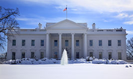 White House After Snow Washington DC Stock Photo