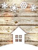 White house and snowflakes. royalty free stock image
