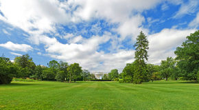 White House South Lawn Panorama. A panorama photo of the White House and its south lawn. Photo taken from the Eclipse (National Mall side Royalty Free Stock Photo