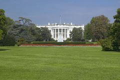 The White House South Lawn with Truman Balcony, Washington D.C. Stock Photo