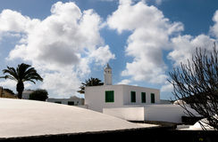 The white house with tower - Lanzarote, Canarian Islands. Stock Photo