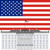 White House and the US flag Royalty Free Stock Photo