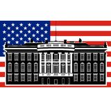 White House and the US flag-1 Royalty Free Stock Photo