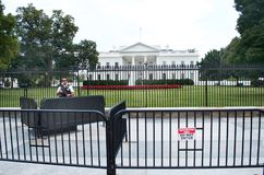 United States White House Heavy Security July 17, 2017. The White House in Washington D.C. July 17, 2017. Heavy Security, armed guard standing out front of White Royalty Free Stock Photos