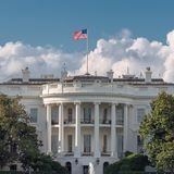 Washington DC, The White House. The White House in Washington DC with beautiful blue sky, USA stock photography