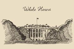 White House in Washington DC hand drawn sketch Stock Photo