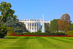 The White House in Washington DC under a clear blue sky. Stock Image