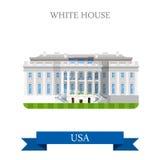The White House Washington DC United States USA vector flat. The White House in Washington DC, United States USA. Flat cartoon style historic sight showplace Royalty Free Stock Photography