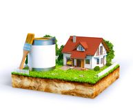 White house. And  paint can with brush on a piece of earth with garden and trees. Unusual illustration Stock Images