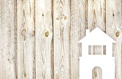 The white house on wood background Royalty Free Stock Photos