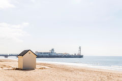 White houses on the beach, whitel door to summer cottages, seasi Royalty Free Stock Photography
