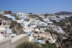 White houses with blue roofs in Santorini Royalty Free Stock Images