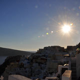 White houses and church domes on Santorini at sunrise, Greece. square. Square view to Santorini caldera, white houses and church domes at sunrise, Greece Royalty Free Stock Image