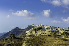 White houses on the cliff of Santorini Island Stock Photography