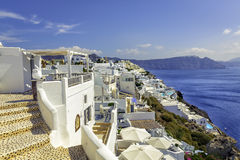 White houses on the cliff of Santorini Island Stock Images