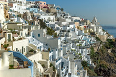 White houses in Fira, Santorini island, Thira, Greece Stock Photos