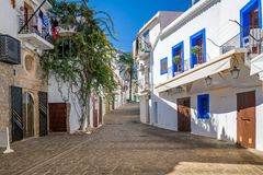 White houses at Ibiza street Royalty Free Stock Photography