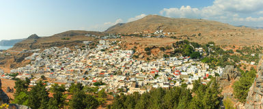White houses of Lindos, Rhodes. Stock Photos
