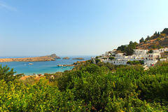 White houses of Lindos, Rhodes. Royalty Free Stock Photos