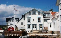 White Houses in Lyngor, Norway Stock Image