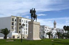 White houses and monument of liberty in La Goulette,Tunisia Stock Images