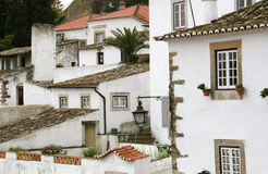 White houses in Obidos, Portugal Royalty Free Stock Image