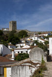 White houses of Obidos, Portugal Royalty Free Stock Images
