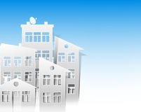 White houses paper cut out style as real estate symbols Royalty Free Stock Photography