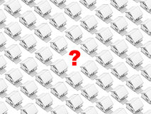 White houses and question mark. Render of the white houses in orthographic view with a question mark on the spot of one of them. White background Stock Images