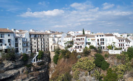 White houses in Ronda. White houses located next to each other in the town of Ronda in Malaga, Spain, are houses perched on a steep mountain at high altitude, is Royalty Free Stock Photo