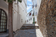 A white houses on street of Catalonia, Spain Royalty Free Stock Photography