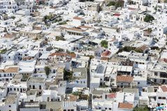 Top view of the white ancient city of Lindos Stock Photos