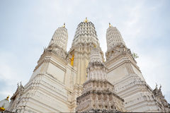 White huge pagoda. In cloudy day Royalty Free Stock Photo