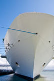 White Hull of Cruse Ship with Blue Rope Stock Photo