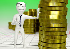 White human character with a stack of coins Stock Photo