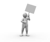 White human figure holding blank panel Stock Image