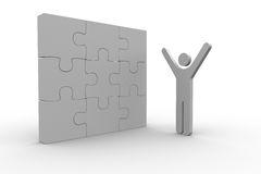 White human figure raising arms next to solved jigsaw puzzle. On white background Stock Photos