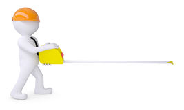 White human in a helmet holding a tape measure Stock Photo