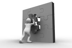 White human representation solving jigsaw puzzle Stock Photos