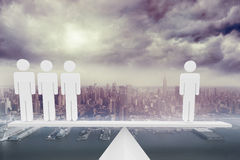 White human resource scales above city Stock Photo