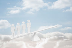 White human resource scales in clouds Stock Photography