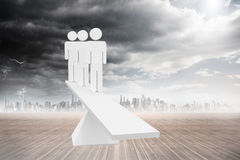 White human resource scales in front of city Royalty Free Stock Images