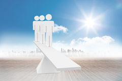 White human resource scales in front of city Royalty Free Stock Photos