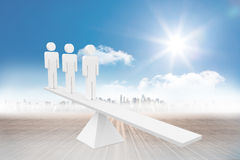 White human resource scales in front of city Stock Images