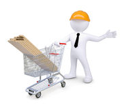 White human standing near the cart Royalty Free Stock Photos