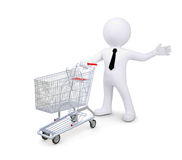 White human standing near a supermarket trolleys Stock Photos
