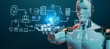 White humanoid creating artificial intelligence interface. White humanoid on blurred background creating artificial intelligence interface royalty free illustration